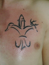 Black lines fleur de lis consisting of animal silhouettes tattoo on chest